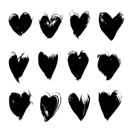 black textured background: Black textured smears heart shapes big set vector objects isolated on a white background