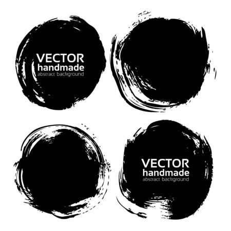 vector backgrounds: Black round abstract backgrounds smears vector objects isolated on a white background