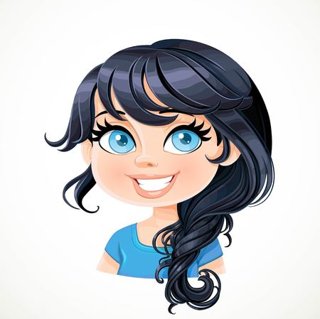 Bella ragazza bruna con i capelli neri con noncuranza treccia ritratto treccia isolato su sfondo bianco Vettoriali