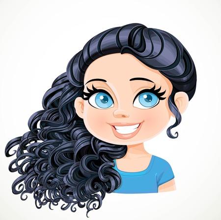 Bella ragazza bruna con i capelli ricci neri magnifici raccolti sulla nuca e spostato attraverso un ritratto spalla isolato su sfondo bianco