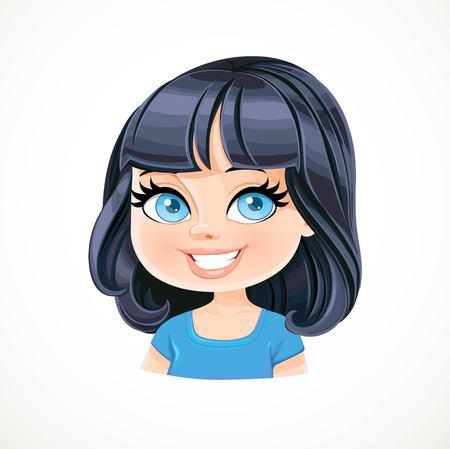 Bella ragazza bruna con il nero bob taglio di capelli con la frangetta ritratto isolato su sfondo bianco Vettoriali