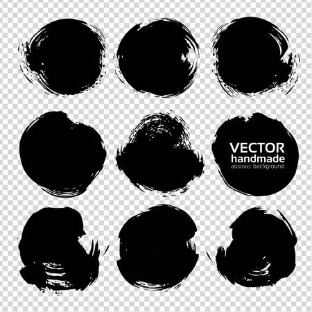 Abstract big black circle textured strokes set isolated on imitation transparent background