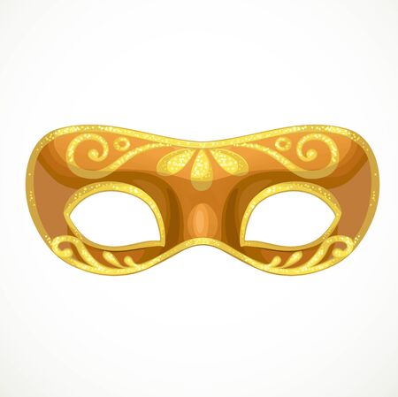 Bronze carnival mask with golden ornament object isolated on white background Illustration