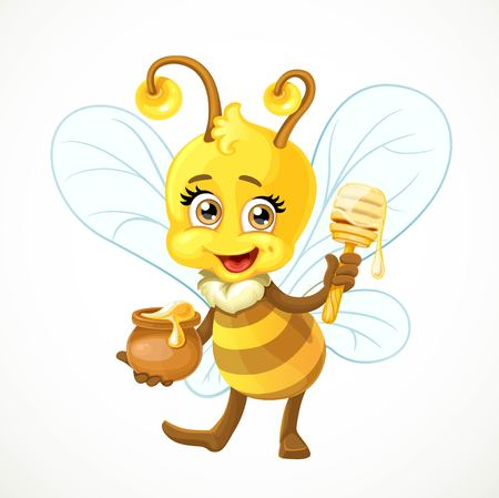 dipper: Cute bee with a clay pot full of honey and wooden dipper stand on white background Illustration