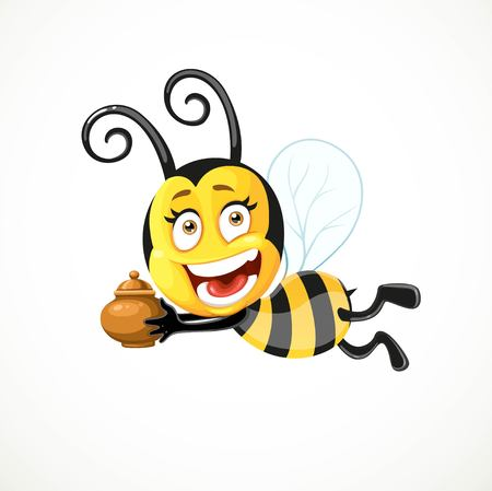 Cartoon bee flies with a clay pot isolated on a white background