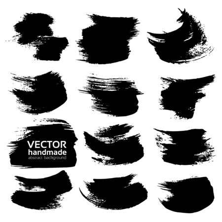 black textured background: Abstract black textured strokes set  isolated on a white background Illustration