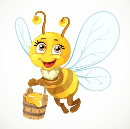 Cute bee flies with wooden bucket full of honey isolated on a white background Illustration