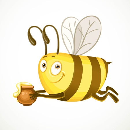 ful: Fun cartoon bee flies with clay pot ful of honey isolated on a white background