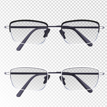 diopter: Glasses with diopter isolated on imitation transparent background