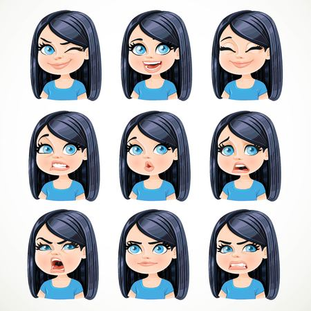 Beautiful cartoon brunette girl with black hair portrait of different emotional states set 2 isolated on white background Illustration