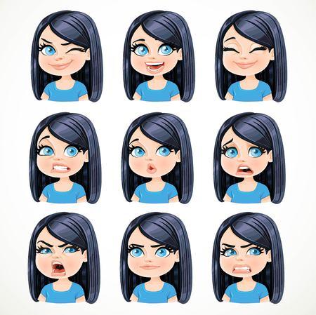 Schöne Karikatur Brünette Mädchen mit schwarzen Haaren Porträt von verschiedenen emotionalen Staaten gesetzt 2 isoliert auf weißem Hintergrund Standard-Bild - 70886660