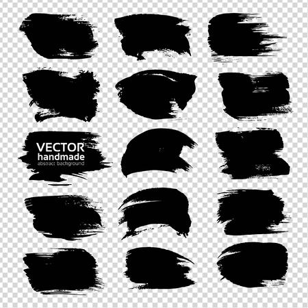 black textured background: Textured abstract black strokes set isolated on imitation transparent background