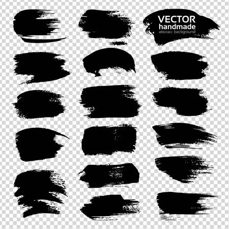 Black big textured strokes set  isolated on imitation transparent background