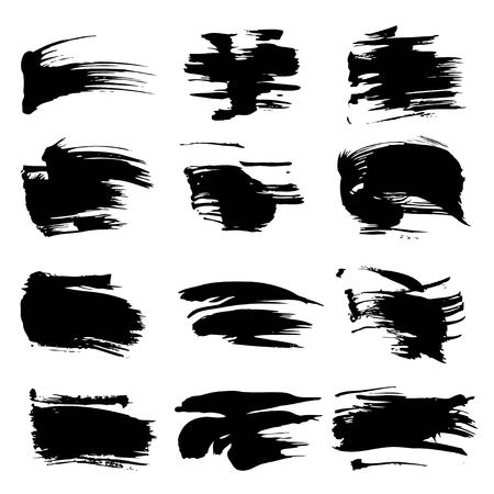 black textured background: Textured abstract black strokes set isolated on white background Illustration