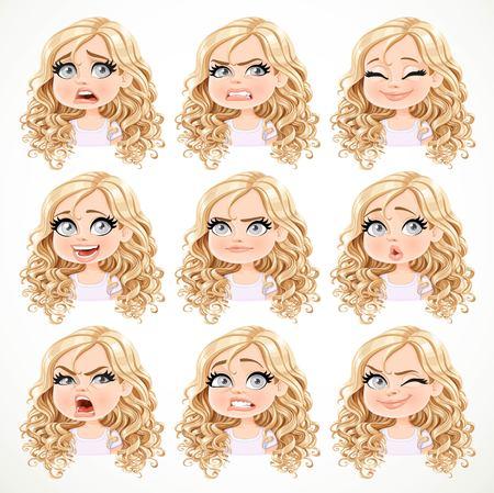 Mooi beeldverhaal blond meisje met prachtig krullend haar portret van verschillende emotionele staten set 3 geïsoleerd op een witte achtergrond