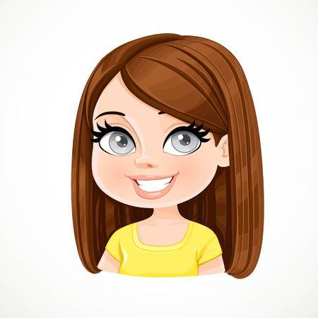 Bella ragazza bruna con colore cioccolato scuro a dritto marrone capelli ritratto isolato su sfondo bianco