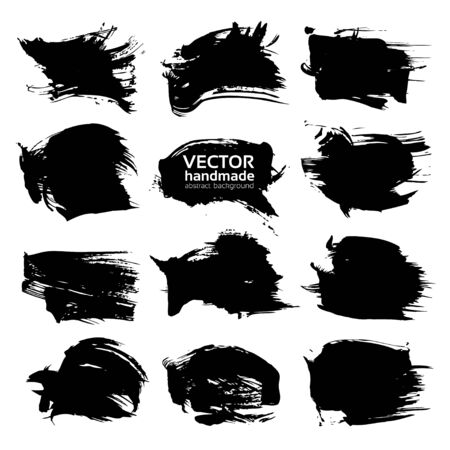 Abstract textured big black strokes  isolated on white background