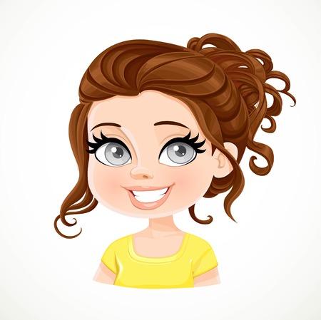 Mooi brunette meisje met lange donkere chocolade kleur golvend haar gebons portret geïsoleerd op een witte achtergrond