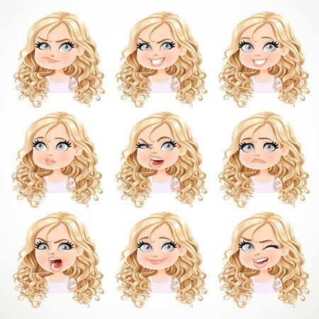 Belle fille blonde avec dessin animé portrait cheveux bouclés magnifique de différents états émotionnels isolé sur fond blanc