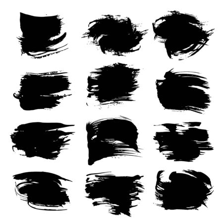 Textured abstract thick black strokes set isolated on a white background Illustration