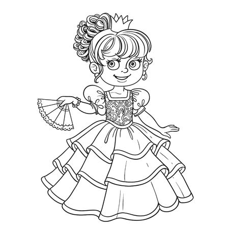 Lovely princess with fan in hand outlined picture for coloring book on white background Illustration