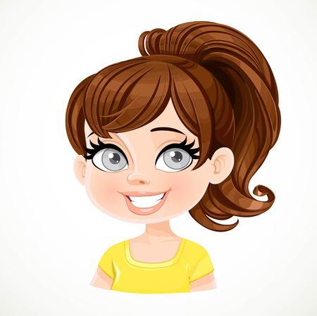 Belle fille brune avec des cheveux raides de couleur chocolat noir réunis dans une queue de cheval au portrait de la Couronne isolé sur fond blanc Vecteurs