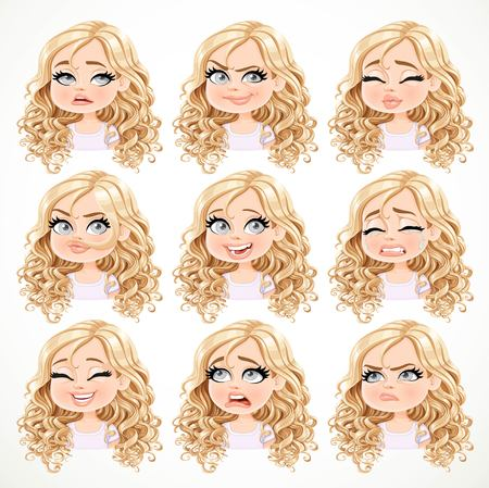 Beautiful cartoon blonde girl with magnificent curly hair portrait of different emotional states set 2 isolated on white background Ilustração
