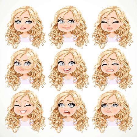 chica rubia de dibujos animados hermosa con el pelo rizado magnífico retrato de diferentes estados emocionales fijaron 2 aislados sobre fondo blanco