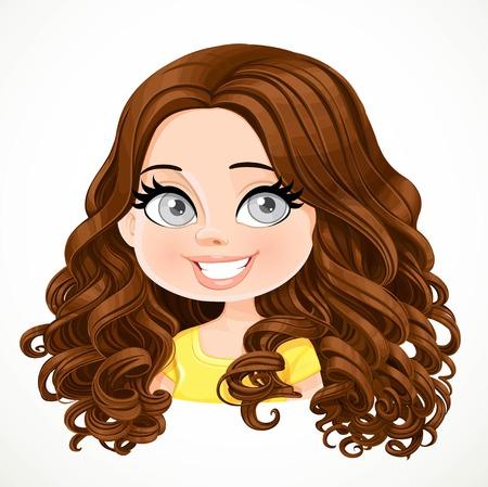 Schöne Brünette Mädchen mit dunklen Schokolade Farbe prächtige große Locken Haar Porträt isoliert auf weißem Hintergrund