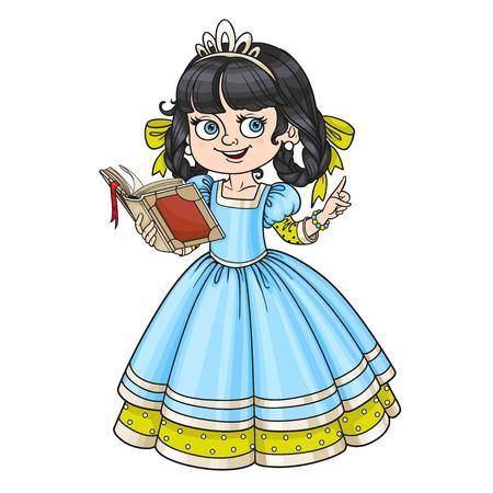 Belle princesse lire livre isolé sur fond blanc