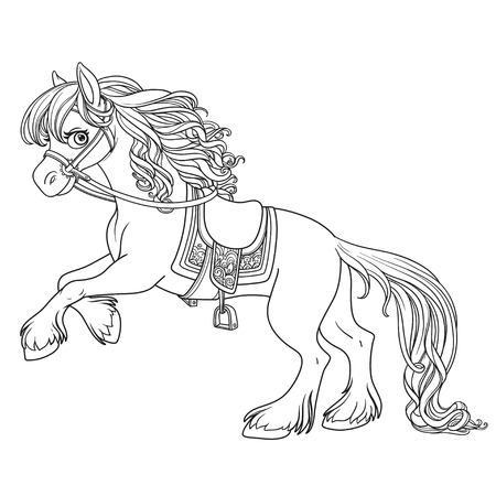 Cute horse with lush mane bucks front hooves outlined picture for coloring book on white background