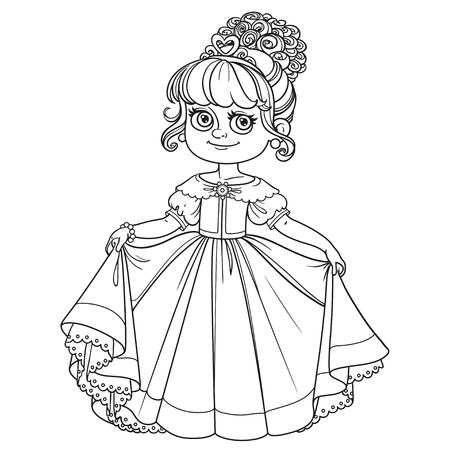 curtsy: Beautiful little princess curtsies outlined for coloring book isolated on white background
