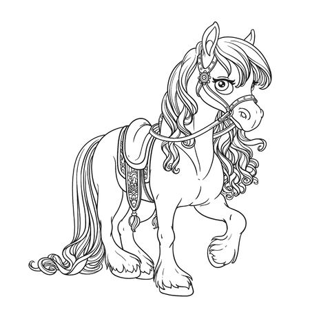 Beautiful horse with lush mane harnessed to a saddle outlined picture for coloring book on white background Illustration