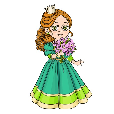 modest fashion: Beautiful princess holding bouquet of pink lilies in hand isolated on white background Illustration