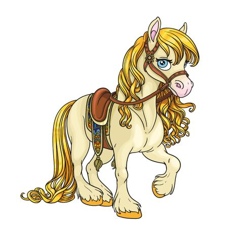 Cute horse with golden mane harnessed to a saddle isolated on white background