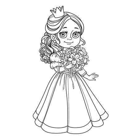 modest fashion: Beautiful princess holding bouquet of lilies in hand outline for coloring isolated on white background