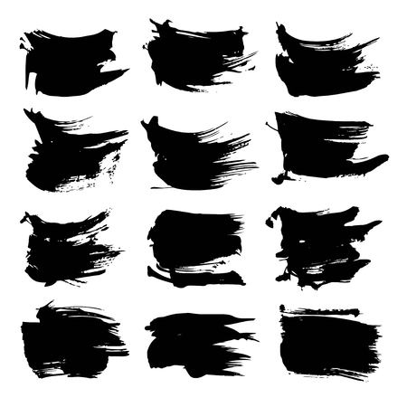 Abstract big black strokes big set  isolated on a white background Illustration