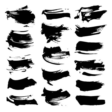 Abstract black textured strokes big set  isolated on a white background