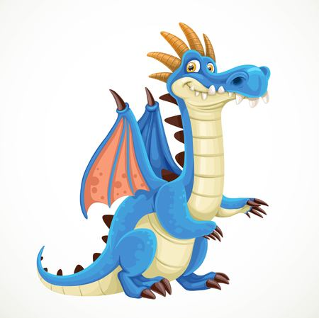 classical mythology character: Cute cartoon blue dragon isolated on a white background