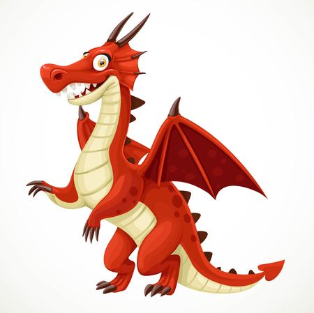 classical mythology character: Cute cartoon red dragon isolated on a white background