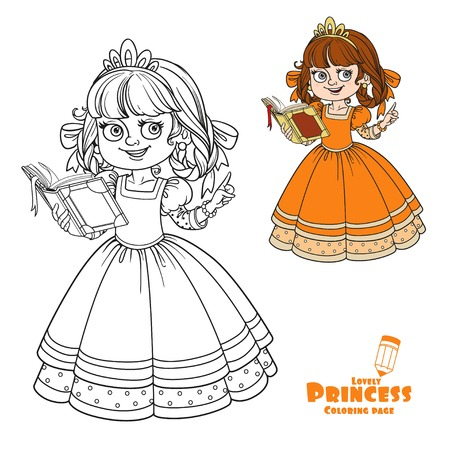 Beautiful Princess Read Book Color And Outlined Picture For Coloring ...