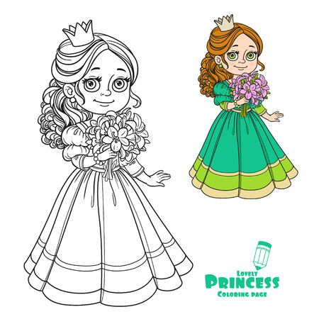 modest fashion: Beautiful princess holding bouquet of pink lilies in hand color and outlined picture for coloring book on white background