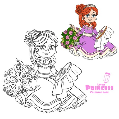 Beautiful princess sitting on a bench near a bush of roses and embroiders color and outlined picture for coloring book on white background Illustration