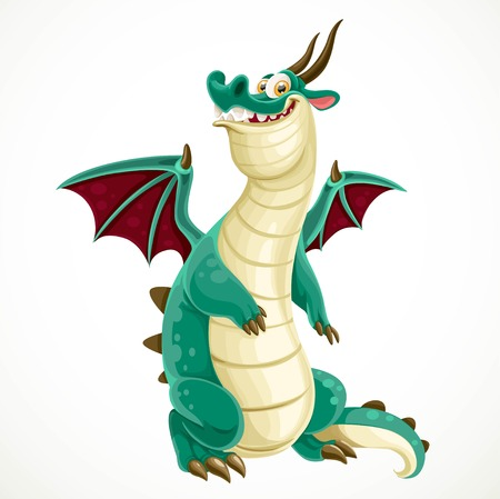 classical mythology character: Cute cartoon green dragon isolated on a white background