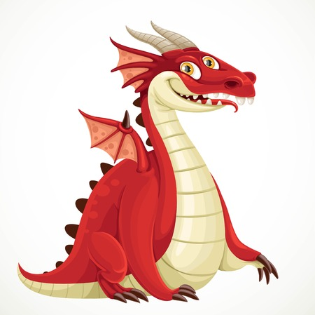 classical mythology character: Fabulous cartoon red dragon isolated on a white background