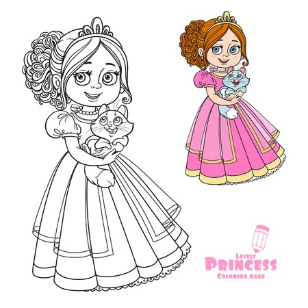 girlish: Beautiful princess holding kitten on hands color and outlined picture for coloring book on white background