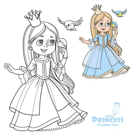 Cute princess with long hair holds on finger little bird color and outlined picture for coloring book on white background Stock Illustratie