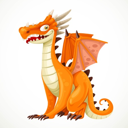 Cute cartoon orange dragon isolated on a white background