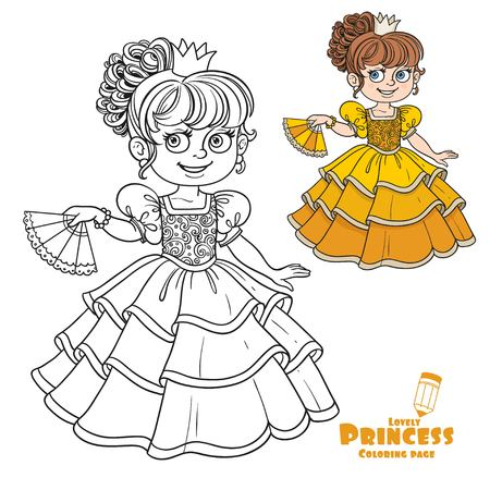 girlish: Lovely princess with fan in hand color and outlined picture for coloring book on white background
