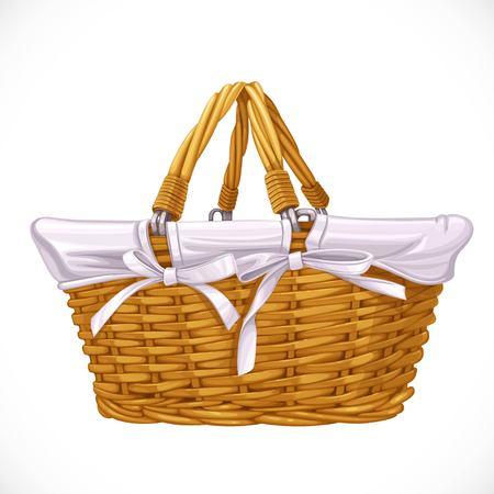 alfa: Wicker basket isolated on white background